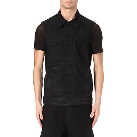 RICK OWENS DRKSHDW Sleeveless denim jacket (Black