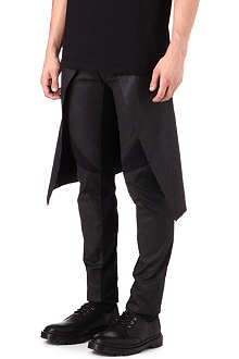 GARETH PUGH Waxed wing-back slim trousers