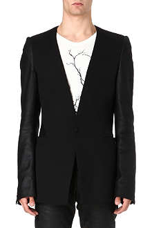 GARETH PUGH Single-button leather panel blazer