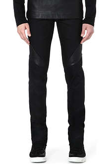 GARETH PUGH Waxed cotton leather-panel jeans