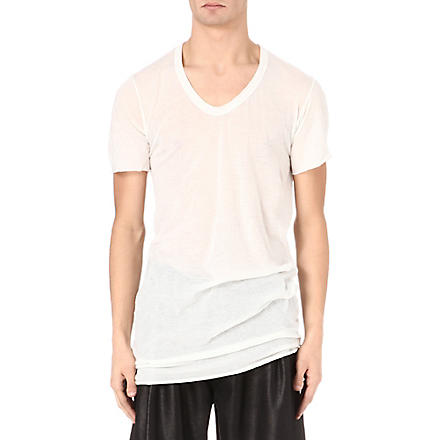 RICK OWENS V-neck t-shirt (Milk