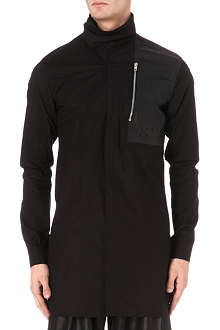 RICK OWENS Funnel-neck leather-panel overshirt