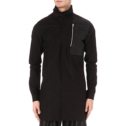 RICK OWENS Funnel-neck leather-panel overshirt (Black