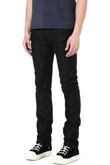 RICK OWENS Cracked leather slim-fit tapered jeans