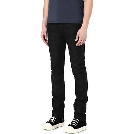 RICK OWENS Cracked leather slim-fit tapered jeans (Black