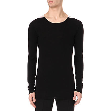 RICK OWENS Knitted shoulder patch top (Black