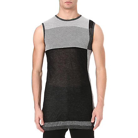 RICK OWENS Stripe panel tank top (Grey/black