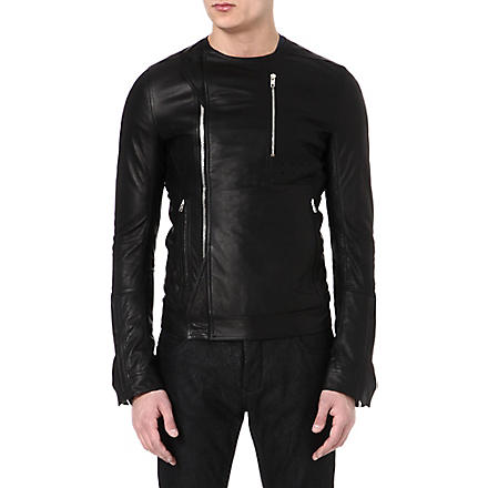RICK OWENS Leather zip jacket (Black