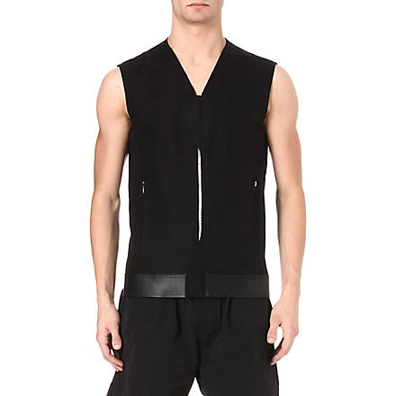 RICK OWENS Laced canvas gilet (Black