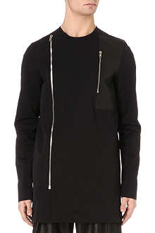 RICK OWENS Double-zip leather-panel overshirt