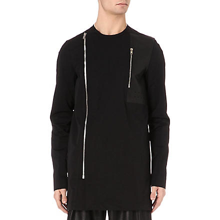 RICK OWENS Double-zip leather-panel overshirt (Black