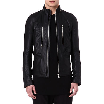 RICK OWENS Hooded leather bomber jacket (Black