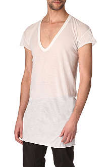 RICK OWENS Long cotton v-neck t-shirt