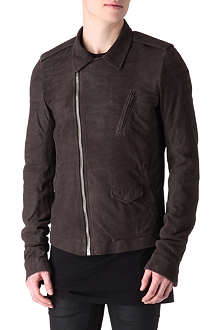 RICK OWENS Suede leather biker jacket