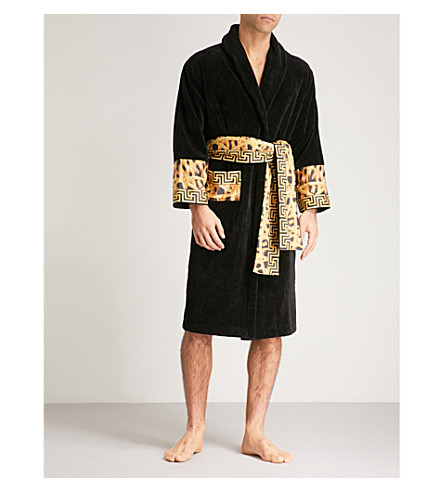 VERSACE Lamyland printed cotton dressing gown (Black gold