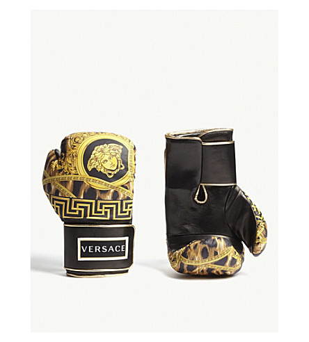 VERSACE Lamyland leather boxing gloves (Black+gold