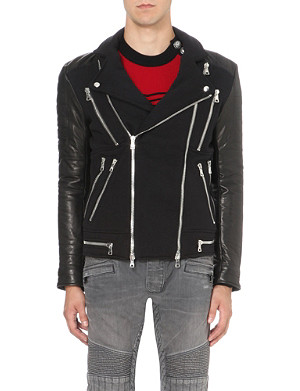 BALMAIN Contrast-sleeve cotton and leather biker jacket