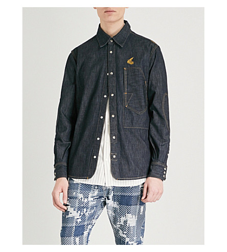 ANGLOMANIA Relaxed-fit deconstructed denim shirt (Blue+denim