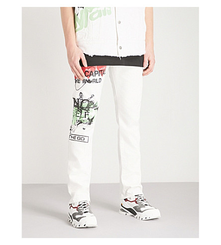 ANGLOMANIA Printed regular-fit straight jeans (Meaningless+print
