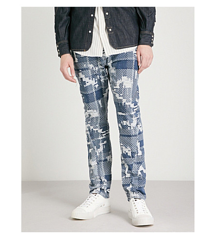 ANGLOMANIA Patchwork relaxed-fit tapered jeans (Blue+tartan