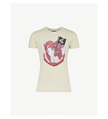 ANGLOMANIA Heart cotton-jersey T-shirt (Ocra
