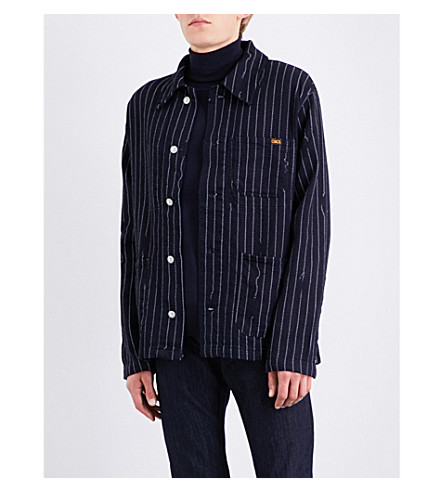 ANGLOMANIA Pinstripe cotton jacket (Blue