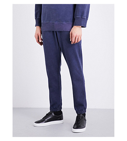 ANGLOMANIA Faded stretch-cotton jogging bottoms (Navy
