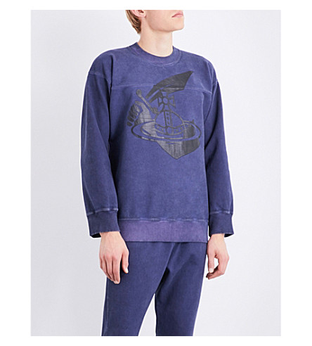 ANGLOMANIA Sword stretch-cotton sweatshirt (Navy
