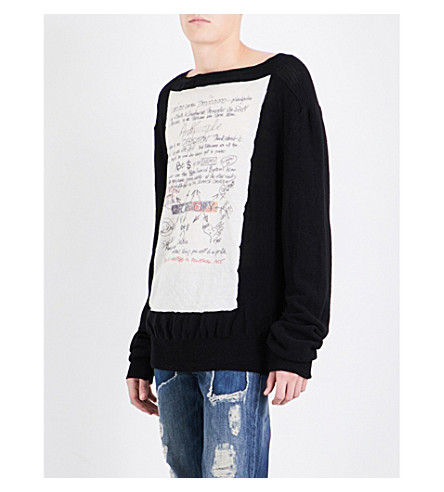 VIVIENNE WESTWOOD Writing-print knitted wool jumper (Black+white