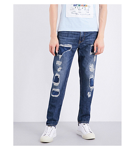 ANGLOMANIA Distressed regular-fit tapered jeans (Blue+denim