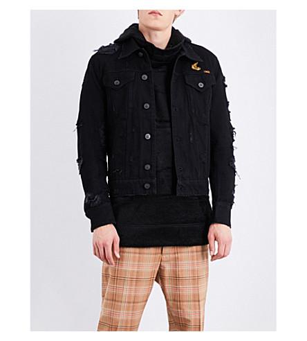 ANGLOMANIA Distressed denim jacket (Black+denim