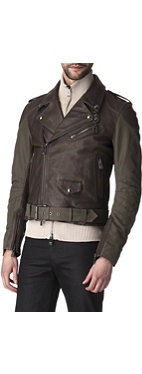 BELSTAFF Ulverston leather and canvas biker jacket