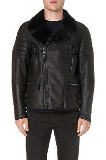 BELSTAFF Shearling-collar leather biker jacket