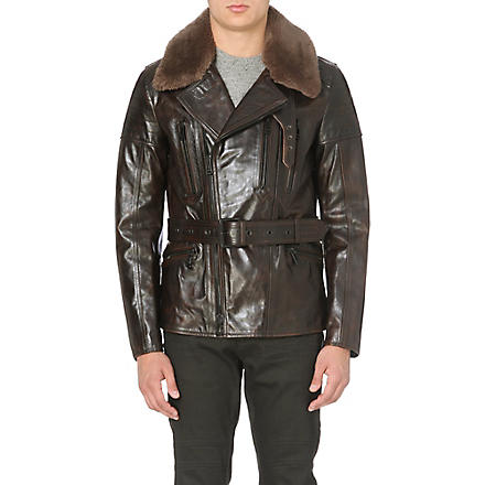 BELSTAFF Shearling leather biker jacket (Brown