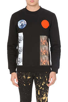 RAF SIMONS Planet Circle cotton-jersey sweatshirt