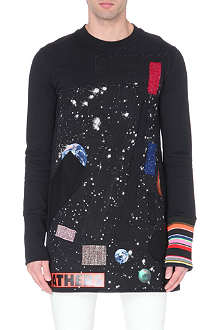 RAF SIMONS Fray Patch Planet tunic sweatshirt
