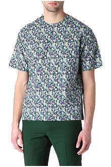 RAF SIMONS Printed button-shoulder t-shirt