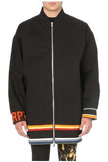 RAF SIMONS Striped-hem cotton bomber jacket