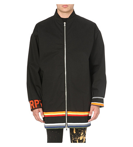 RAF SIMONS Striped-hem cotton bomber jacket (Black