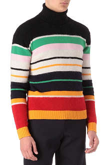 RAF SIMONS Multi stripe knitted jumper