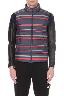 UNDERCOVER Striped leather-sleeve quilted jacket