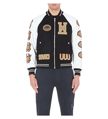 UNDERCOVER Printed cow hide bomber jacket (Navy
