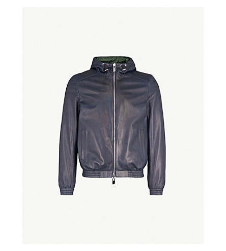 BALLY Reversible leather and shell reversible bomber jacket (Ink