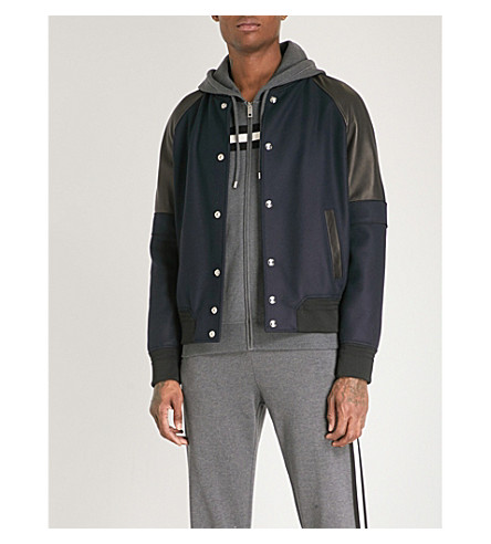BALLY Leather-panelled wool-blend bomber jacket (Black