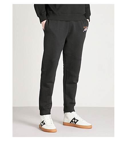 BALLY Logo-embroidered cotton-jersey jogging bottoms (Black