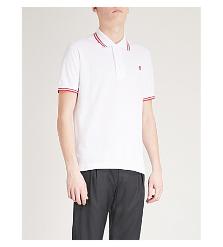 BALLY Logo-embroidered cotton-piqué polo shirt (White