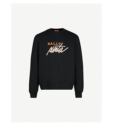 BALLY Logo-embroidered cotton-fleece sweatshirt (Black