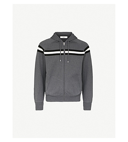 BALLY Striped cotton-jersey hoody (Grey