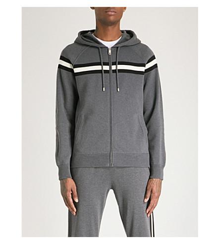 BALLY Striped cotton-jersey hoody (Grey
