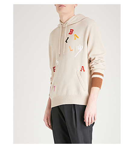 BALLY Letter-embroidered wool hoody (Beige